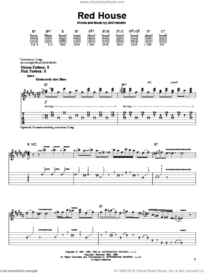 Red House sheet music for guitar solo (easy tablature) by Jimi Hendrix. Score Image Preview.