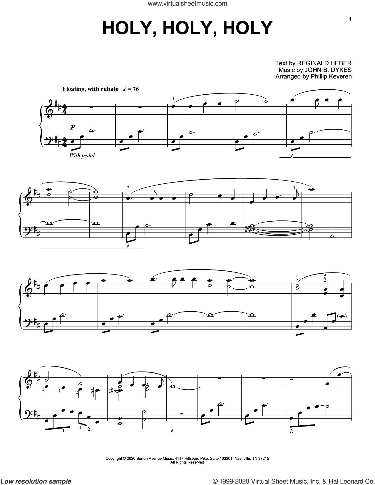 Holy, Holy, Holy (arr. Phillip Keveren) sheet music for piano solo by John Bacchus Dykes, Phillip Keveren and Reginald Heber, intermediate skill level
