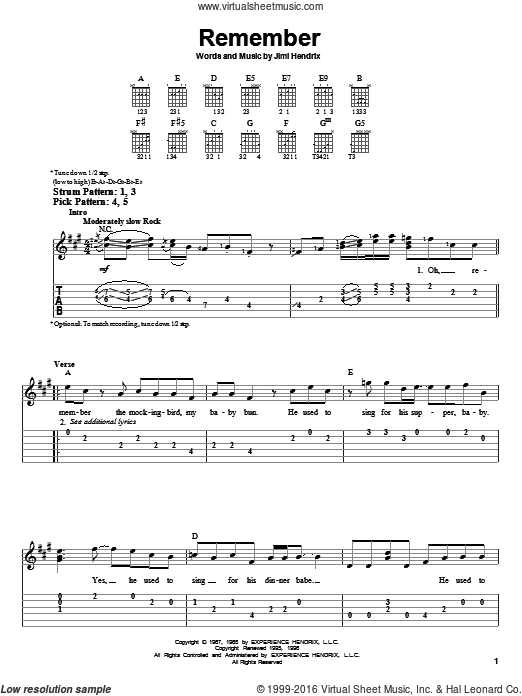 Remember sheet music for guitar solo (easy tablature) by Jimi Hendrix. Score Image Preview.