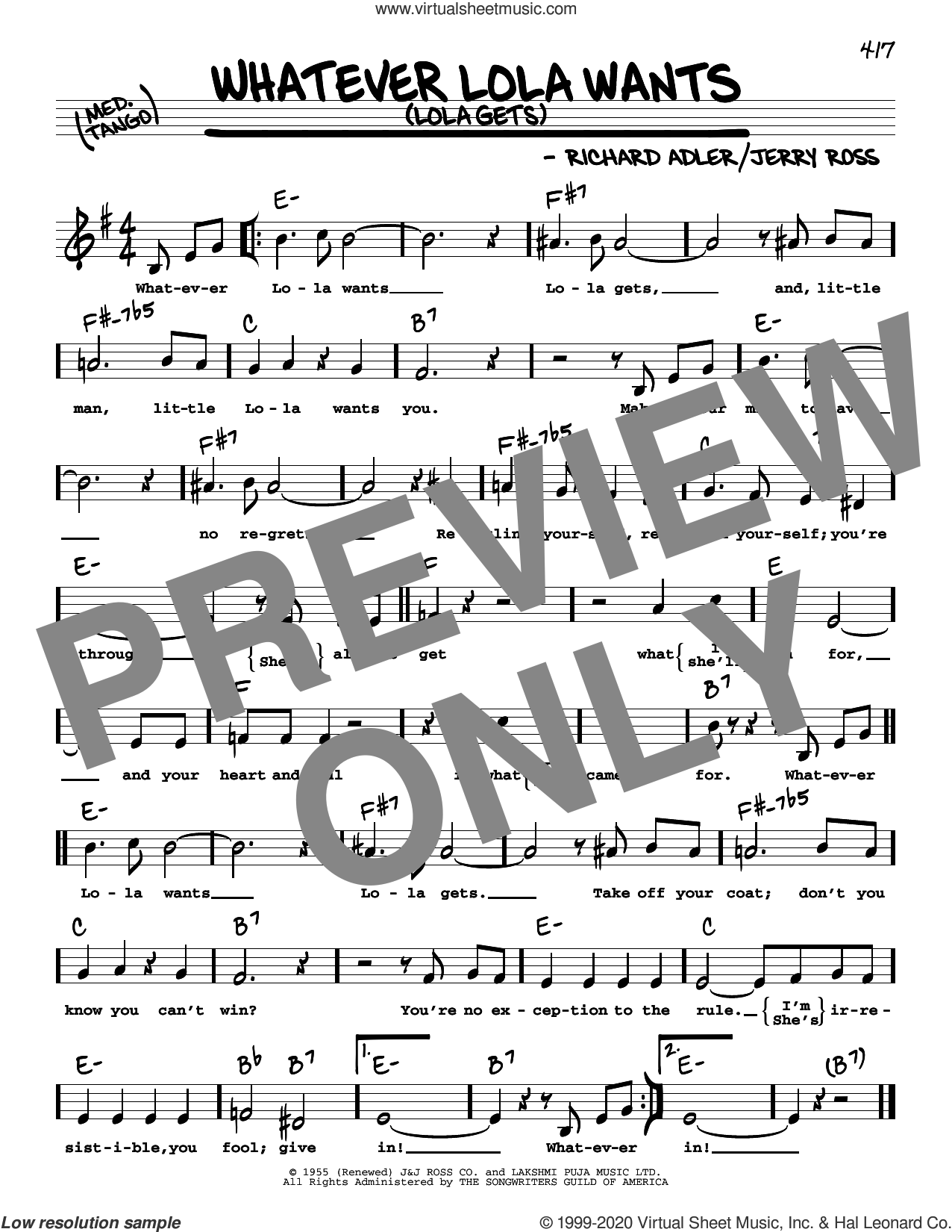 Whatever Lola Wants (Lola Gets) (High Voice) sheet music for voice and other instruments (high voice) by Richard Adler, Adler & Ross and Jerry Ross, intermediate skill level