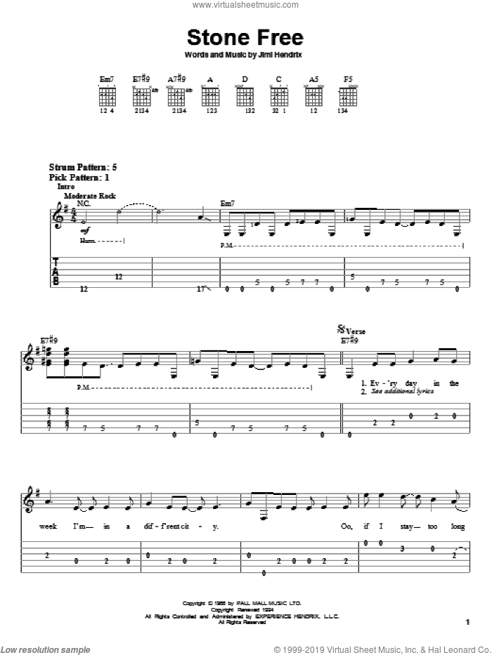 Stone Free sheet music for guitar solo (easy tablature) by Jimi Hendrix, easy guitar (easy tablature)