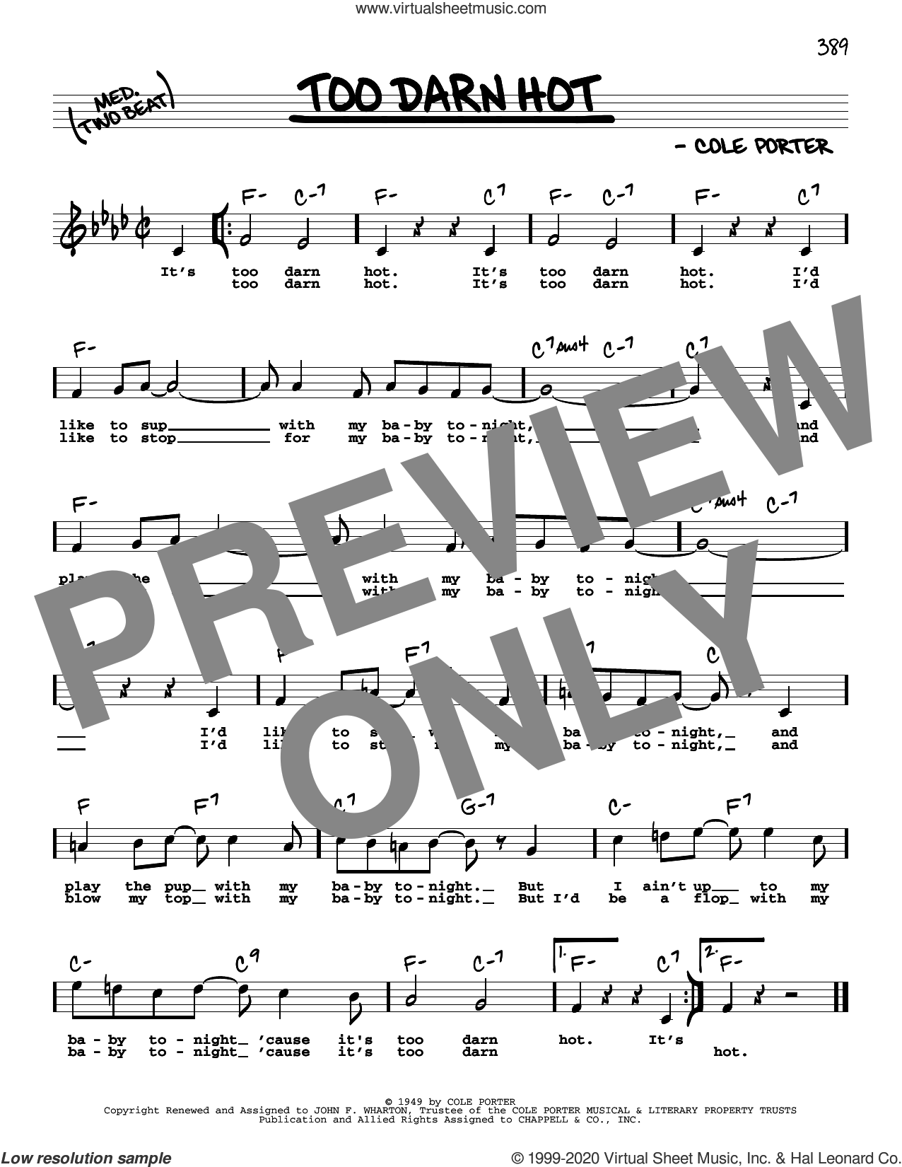 Too Darn Hot (High Voice) sheet music for voice and other instruments (high voice) by Cole Porter, intermediate skill level
