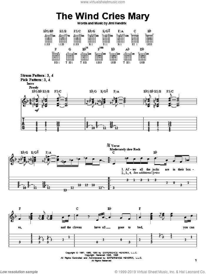 The Wind Cries Mary sheet music for guitar solo (easy tablature) by Jimi Hendrix, easy guitar (easy tablature). Score Image Preview.