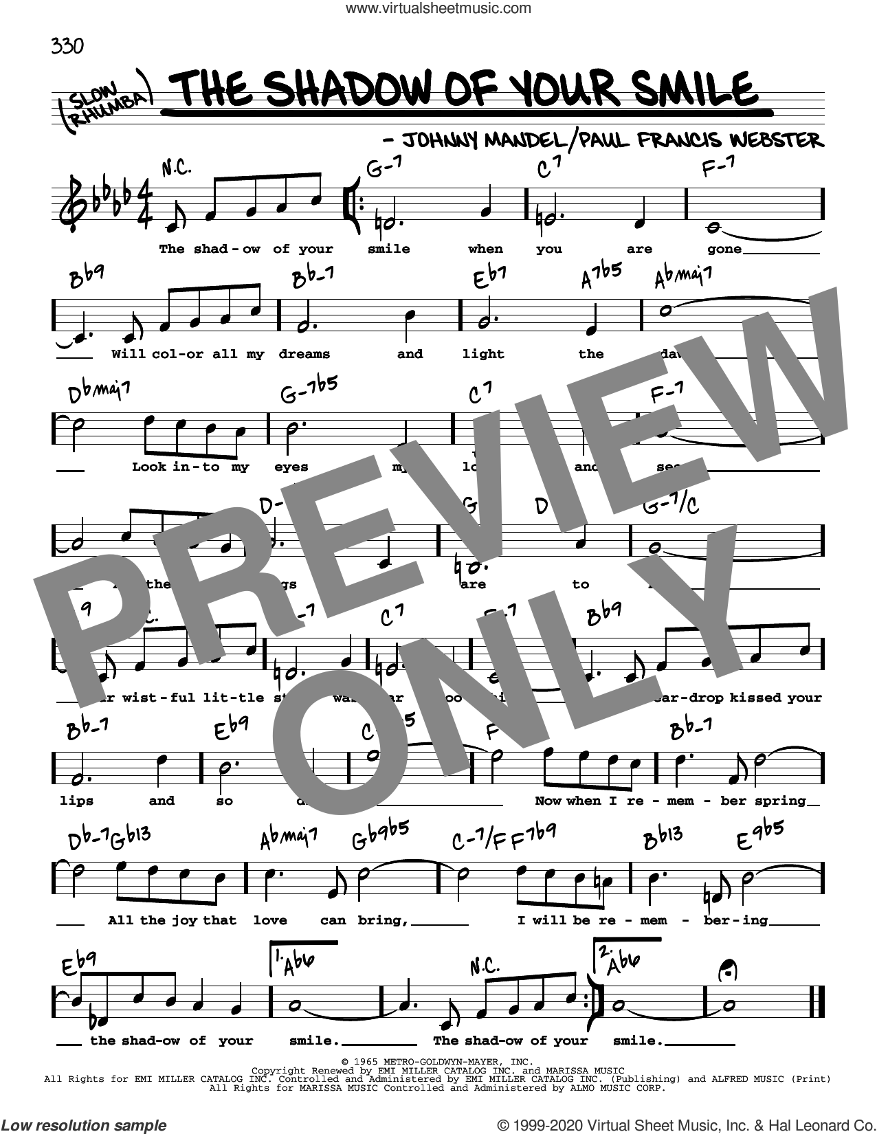 The Shadow Of Your Smile (High Voice) sheet music for voice and other instruments (high voice) by Paul Francis Webster and Johnny Mandel, intermediate skill level
