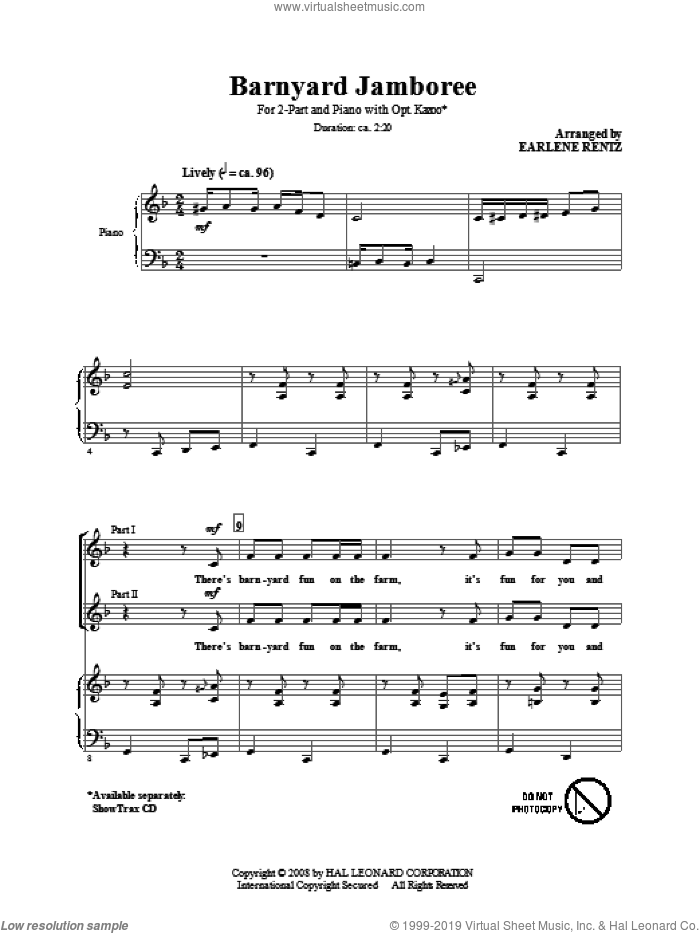 Barnyard Jamboree sheet music for choir (2-Part) by Earlene Rentz, intermediate duet