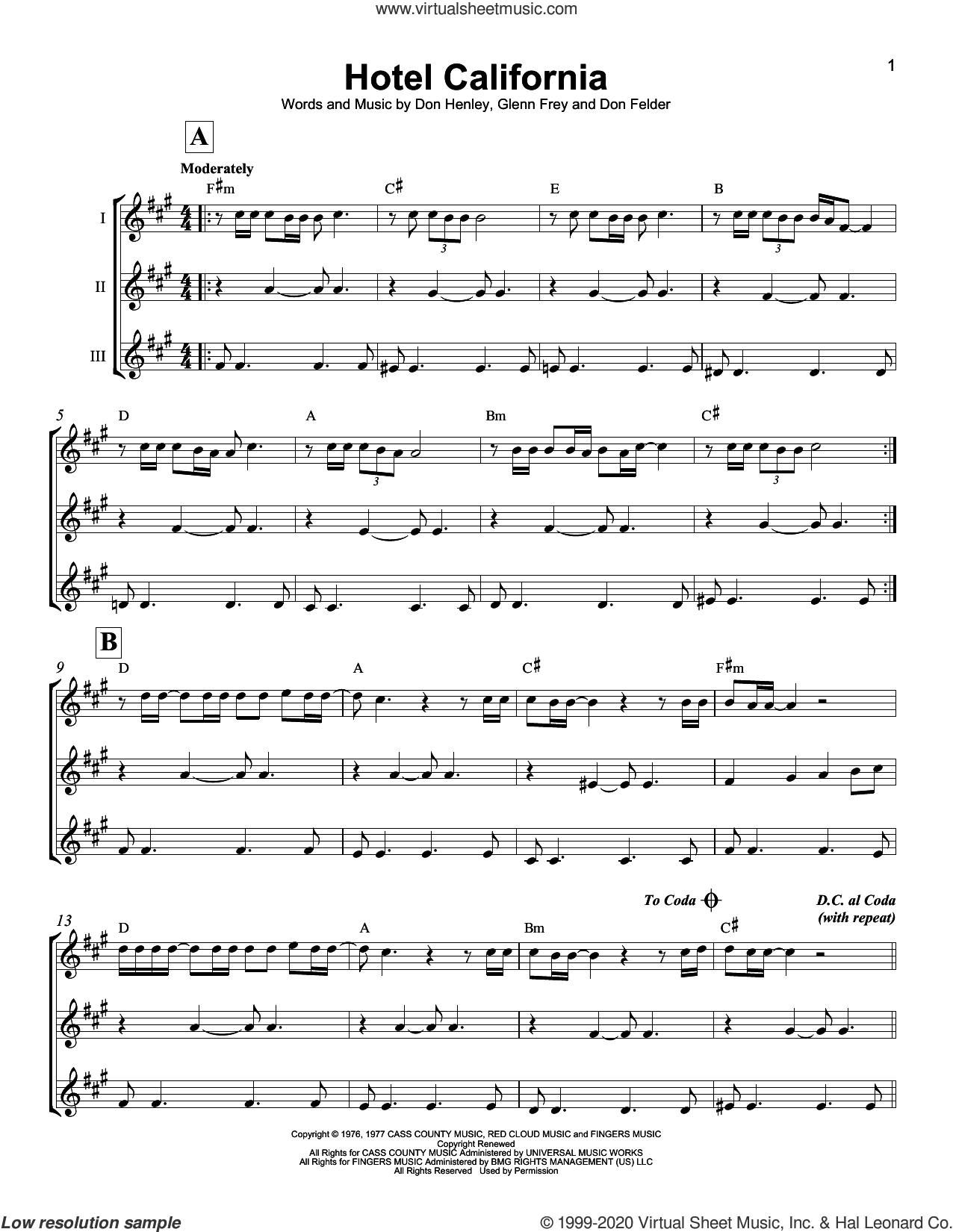 Hotel California sheet music for ukulele ensemble by Don Henley, The Eagles, Don Felder and Glenn Frey, intermediate skill level