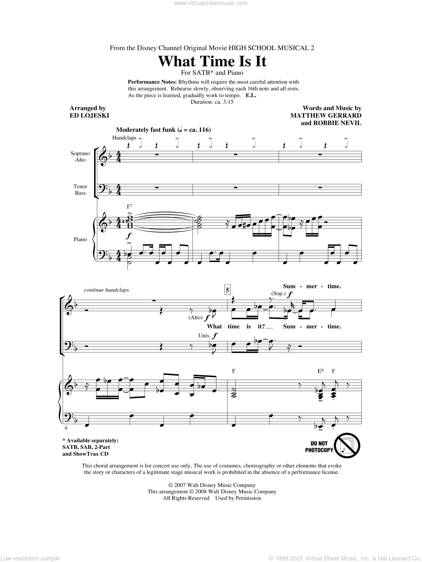What Time Is It sheet music for choir and piano (SATB) by Matthew Gerrard