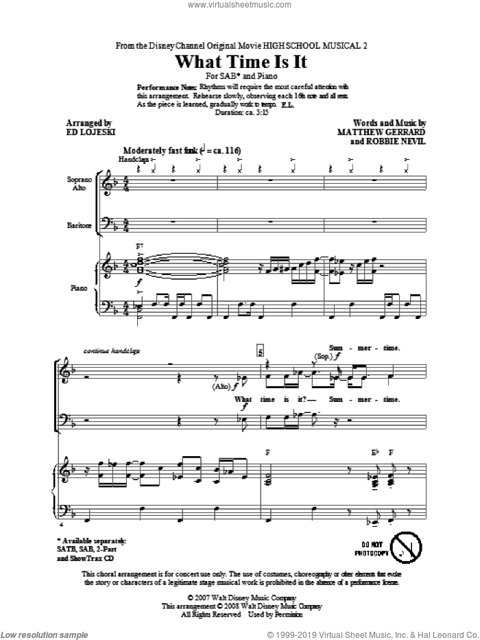 What Time Is It sheet music for choir and piano (SAB) by Matthew Gerrard, Ed Lojeski, High School Musical and Robbie Nevil. Score Image Preview.