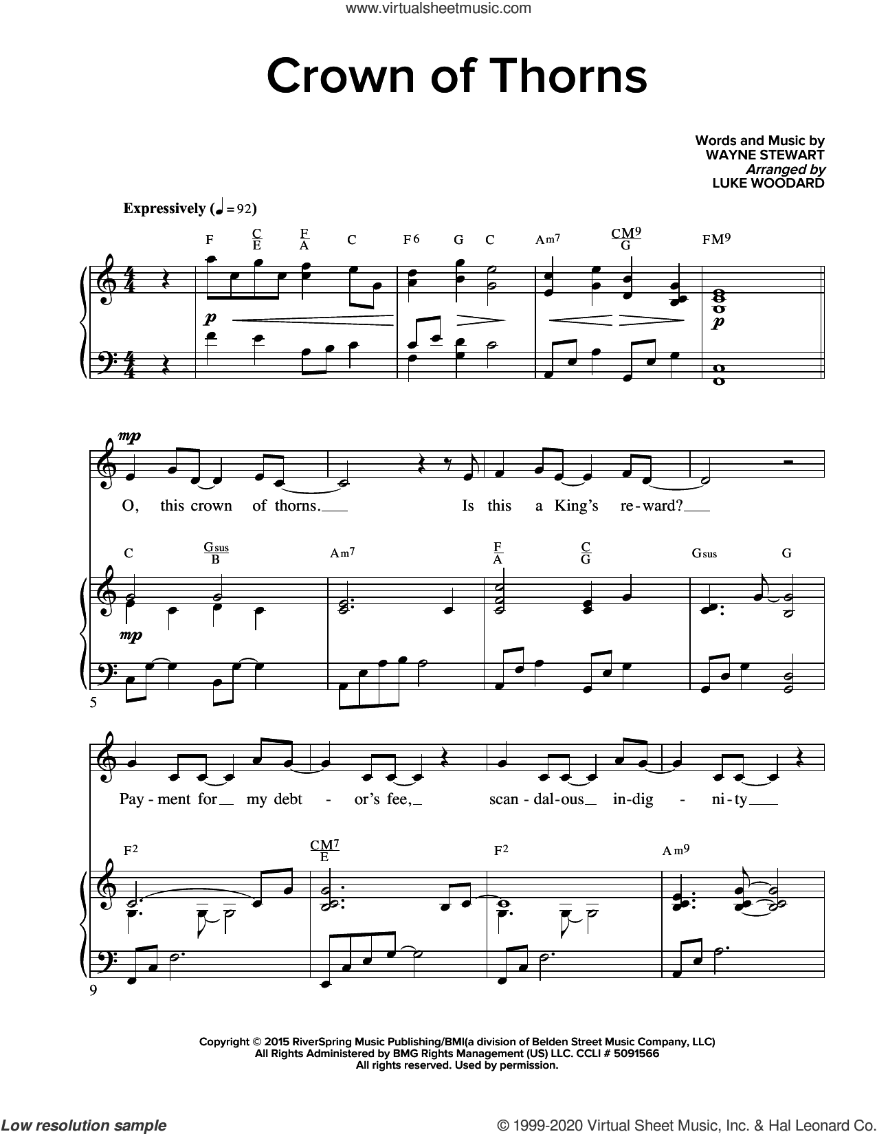Crown Of Thorns (arr. Luke Woodard) sheet music for voice and piano by Wayne Stewart and Luke Woodard, intermediate skill level