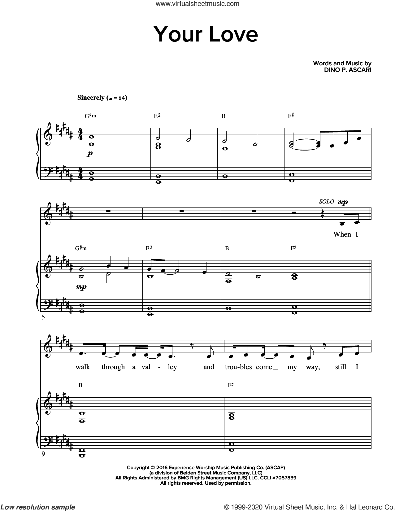 Your Love sheet music for voice and piano by Dino P. Ascari, intermediate skill level