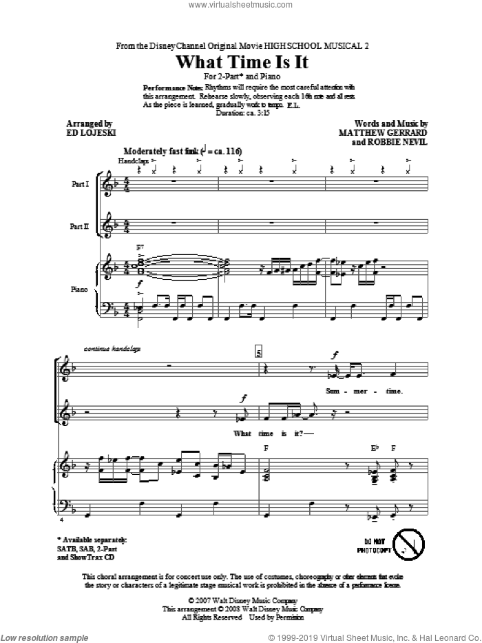 What Time Is It sheet music for choir (duets) by Matthew Gerrard, Ed Lojeski, High School Musical and Robbie Nevil. Score Image Preview.