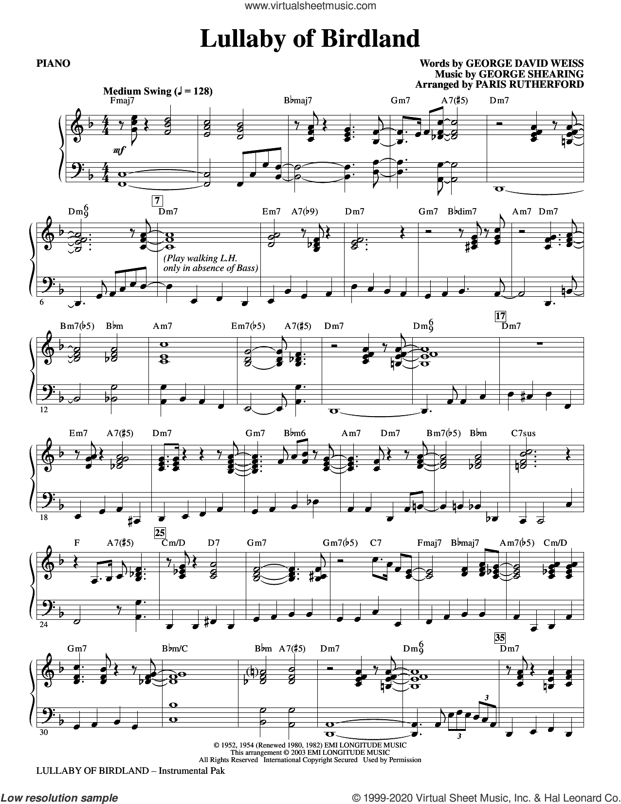 Lullaby Of Birdland (arr. Paris Rutherford) (complete set of parts) sheet music for orchestra/band (Rhythm) by George David Weiss and George Shearing, George David Weiss, George Shearing and Paris Rutherford, intermediate skill level