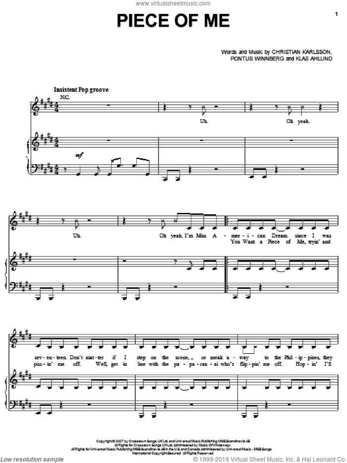 Piece Of Me sheet music for voice, piano or guitar by Britney Spears and Klas Ahlund. Score Image Preview.