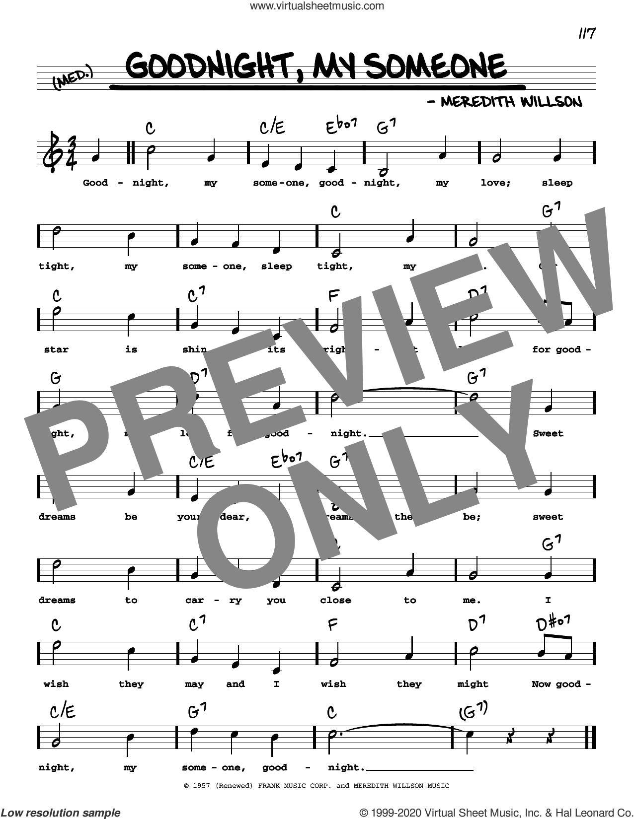 Goodnight, My Someone (High Voice) (from The Music Man) sheet music for voice and other instruments (real book with lyrics) by Meredith Willson, intermediate skill level
