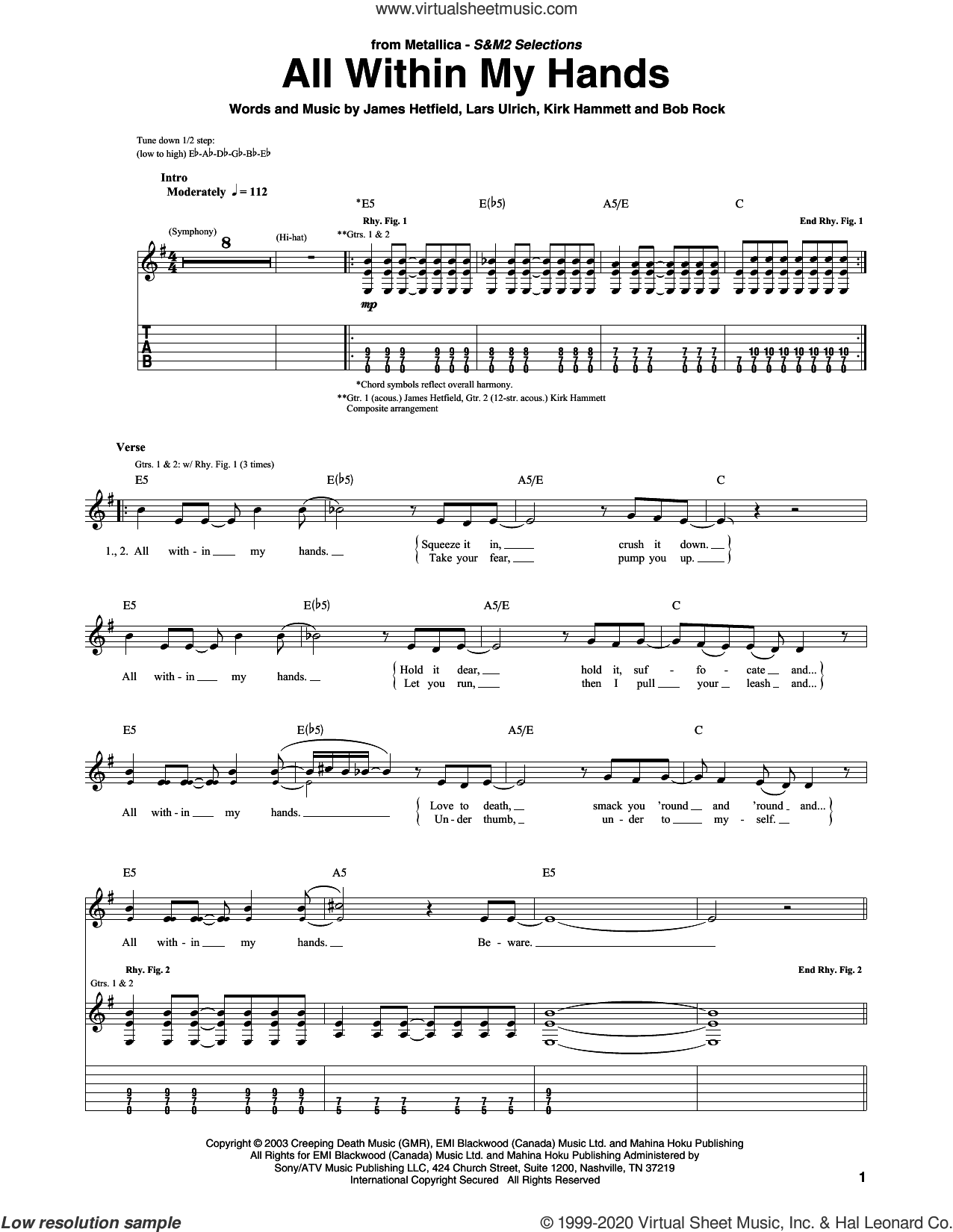All Within My Hands sheet music for guitar (tablature) by Metallica, Bob Rock, James Hetfield, Kirk Hammett and Lars Ulrich, intermediate skill level