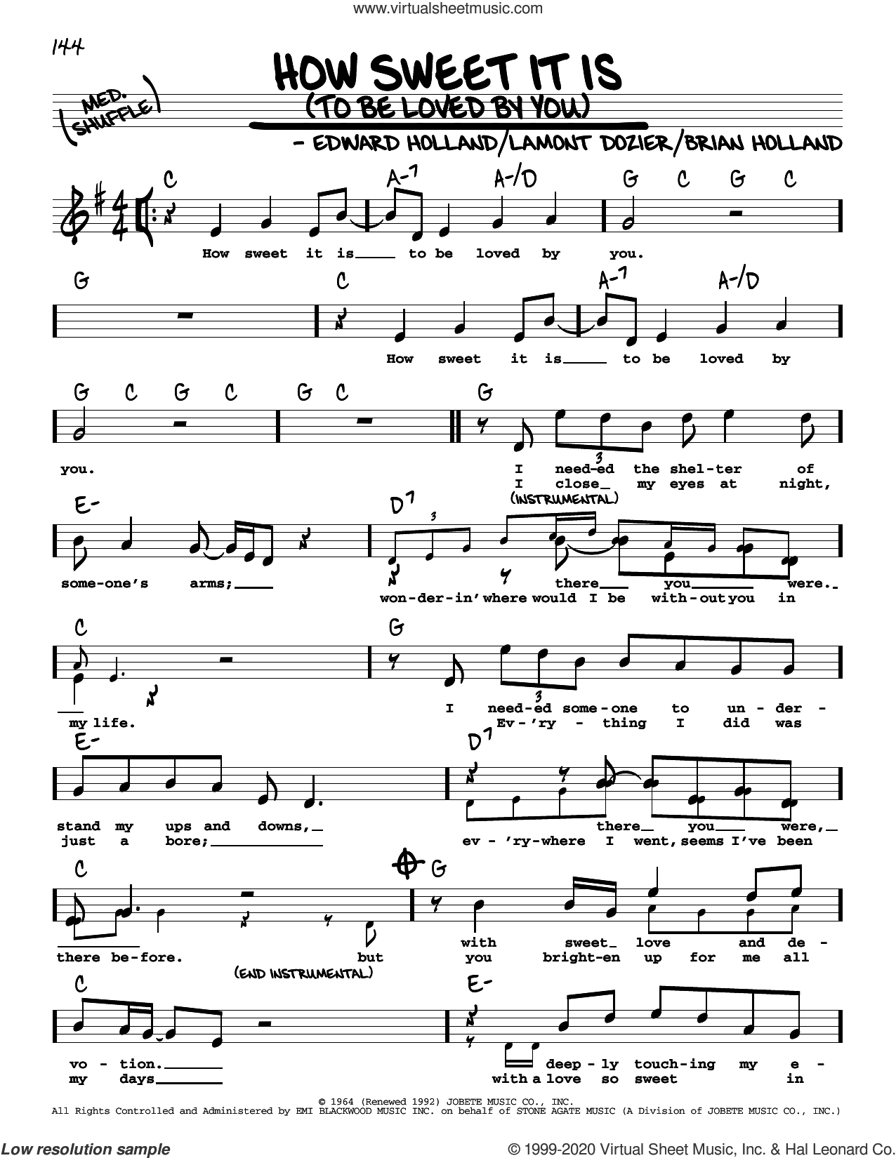 How Sweet It Is (To Be Loved By You) (High Voice) sheet music for voice and other instruments (real book with lyrics) by Marvin Gaye, James Taylor, Brian Holland, Eddie Holland and Lamont Dozier, intermediate skill level