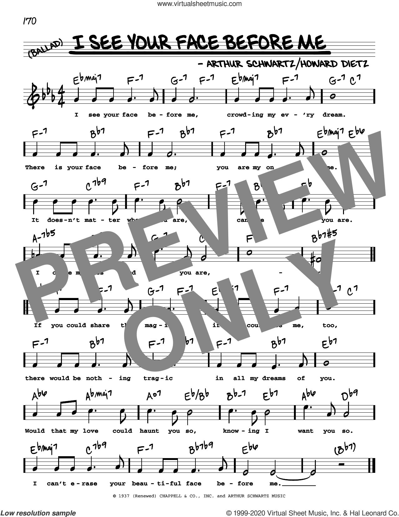 I See Your Face Before Me (High Voice) sheet music for voice and other instruments (real book with lyrics) by Arthur Schwartz and Howard Dietz, intermediate skill level