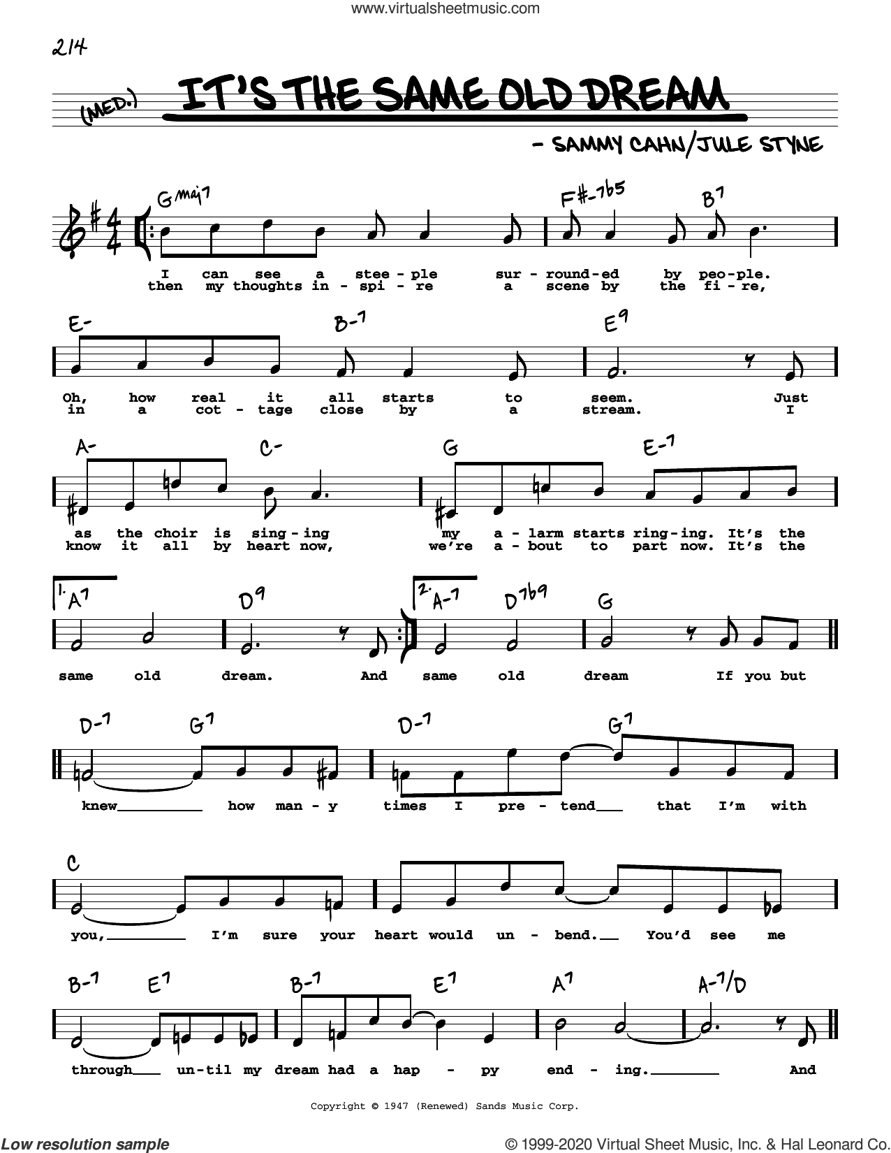 It's The Same Old Dream (High Voice) sheet music for voice and other instruments (high voice) by Sammy Cahn and Jule Styne, intermediate skill level
