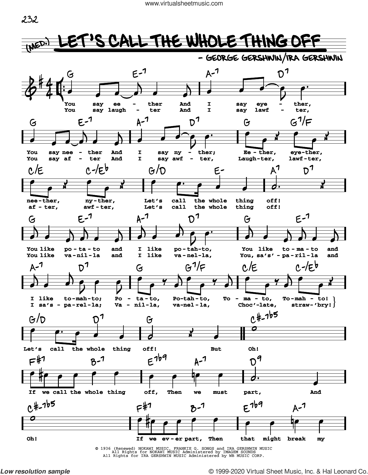 Let's Call The Whole Thing Off (High Voice) (from Shall We Dance) sheet music for voice and other instruments (high voice) by George Gershwin, George Gershwin & Ira Gershwin and Ira Gershwin, intermediate skill level