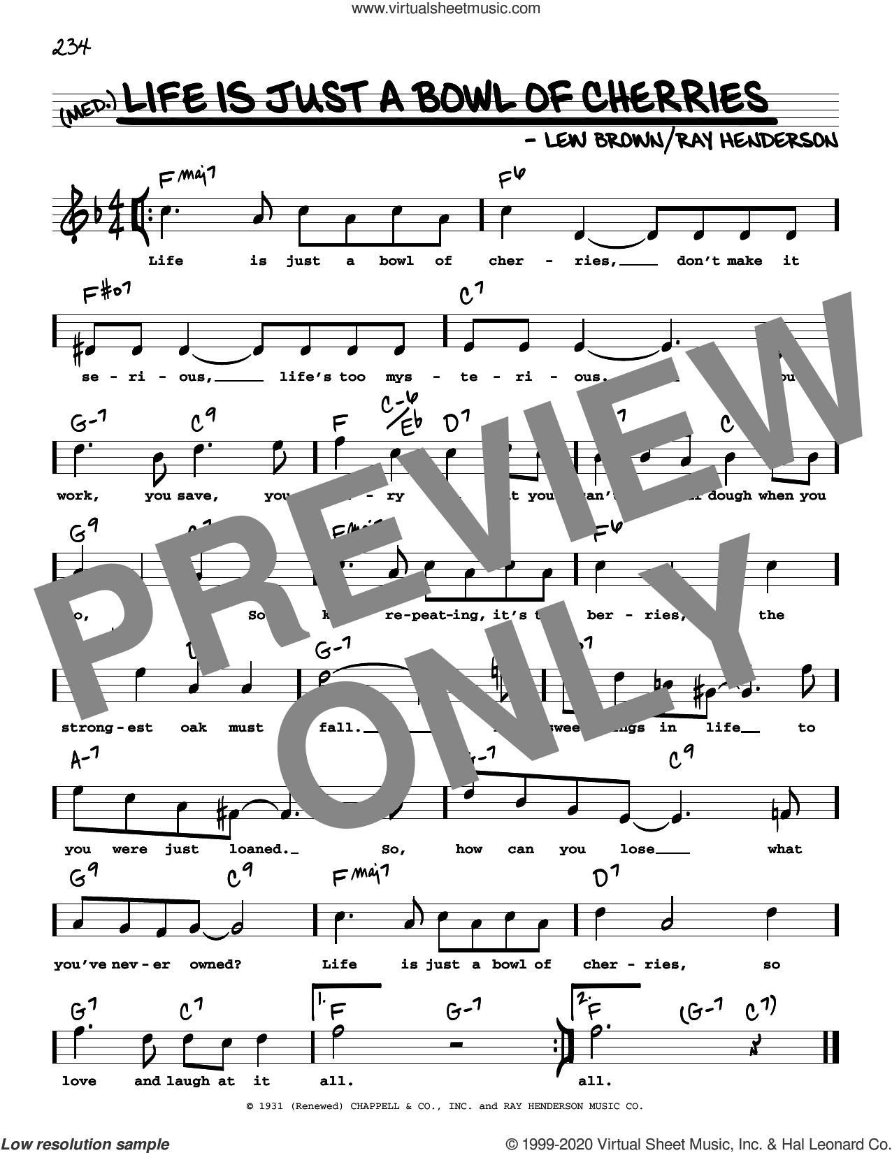 Life Is Just A Bowl Of Cherries (High Voice) (from George White's Scandals) sheet music for voice and other instruments (high voice) by Ray Henderson, Lew Brown and Ray Henderson and Lew Brown, intermediate skill level