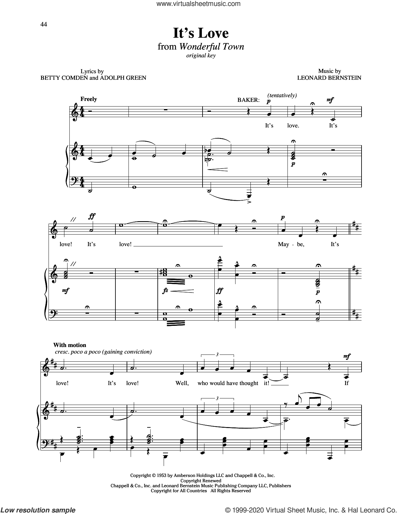 It's Love (from Wonderful Town) sheet music for voice and piano (Medium Low Voice) by Betty Comden, Richard Walters, Adolph Green and Leonard Bernstein, intermediate skill level