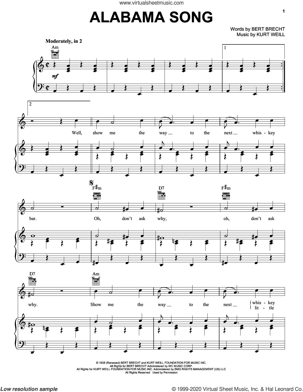 Alabama Song sheet music for voice, piano or guitar by The Doors, Bertolt Brecht and Kurt Weill, intermediate skill level