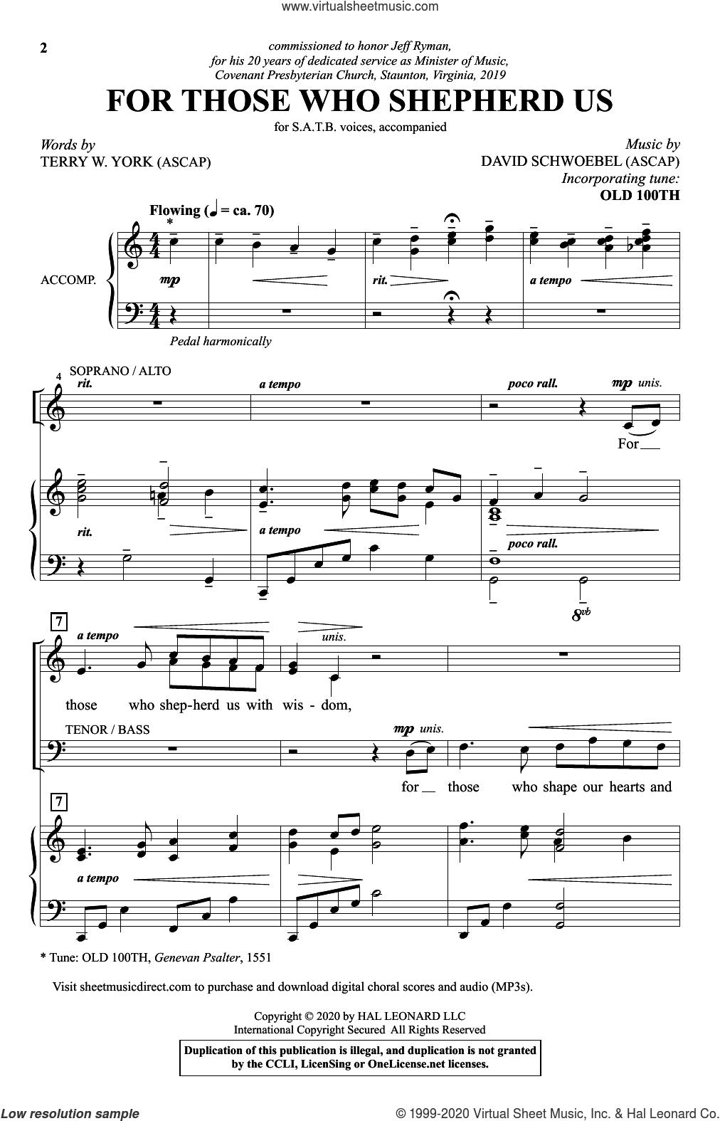 For Those Who Shepherd Us sheet music for choir (SATB: soprano, alto, tenor, bass) by David Schwoebel, Terry W. York and Terry W. York and David Schwoebel, intermediate skill level
