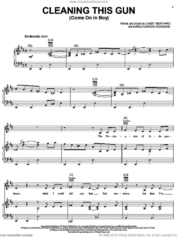 Cleaning This Gun (Come On In Boy) sheet music for voice, piano or guitar by Rodney Atkins, Casey Beathard and Marla Cannon-Goodman, intermediate skill level