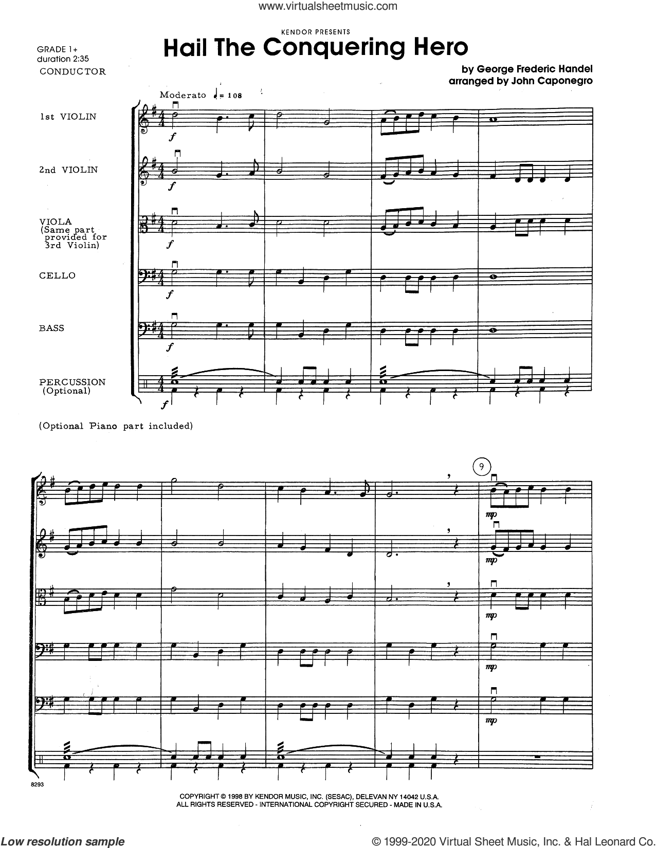 Hail The Conquering Hero (from 'Judas Maccabeus') (arr. John Caponegro) (COMPLETE) sheet music for orchestra by George Frideric Handel and John Caponegro, intermediate skill level