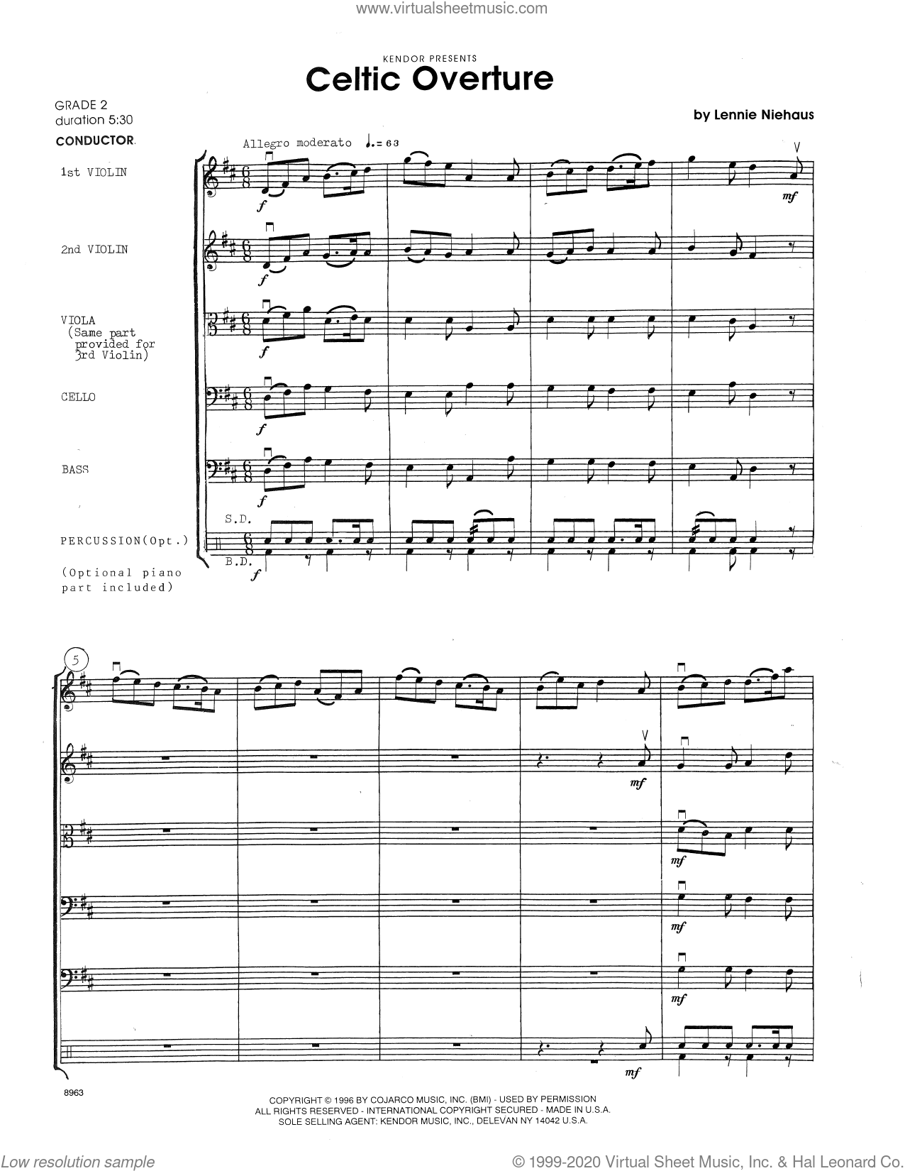 Celtic Overture (COMPLETE) sheet music for orchestra by Lennie Niehaus, intermediate skill level