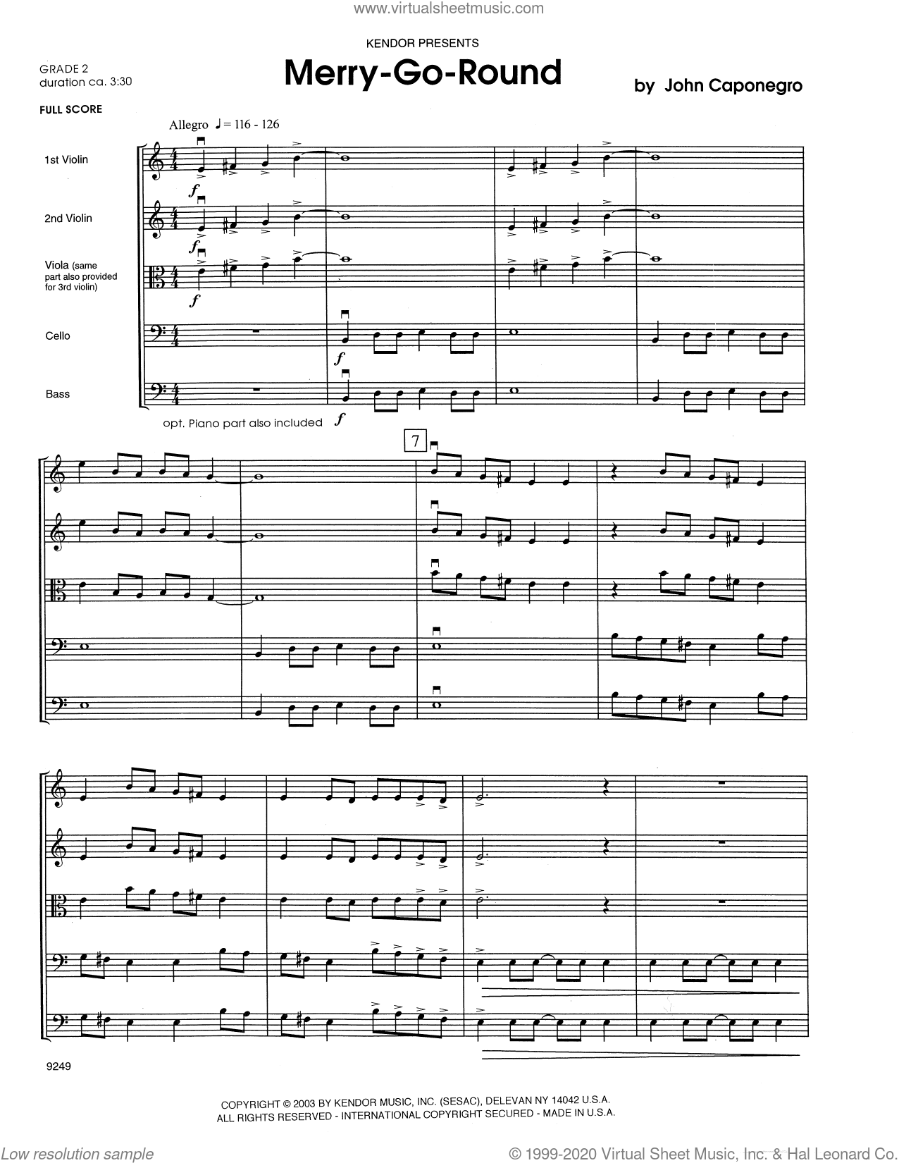 Merry-Go-Round (COMPLETE) sheet music for orchestra by John Caponegro, intermediate skill level