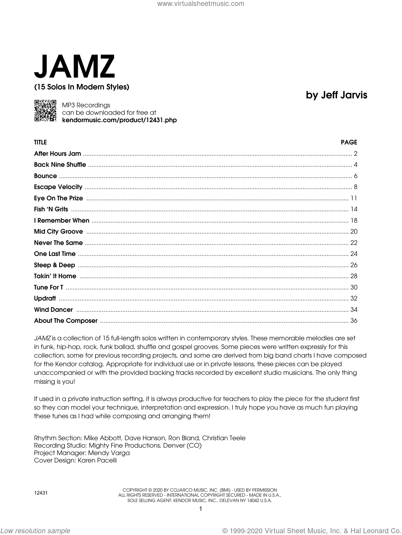 Jamz (15 Solos In Modern Styles) - Trombone sheet music for trombone solo by Jeff Jarvis, intermediate skill level