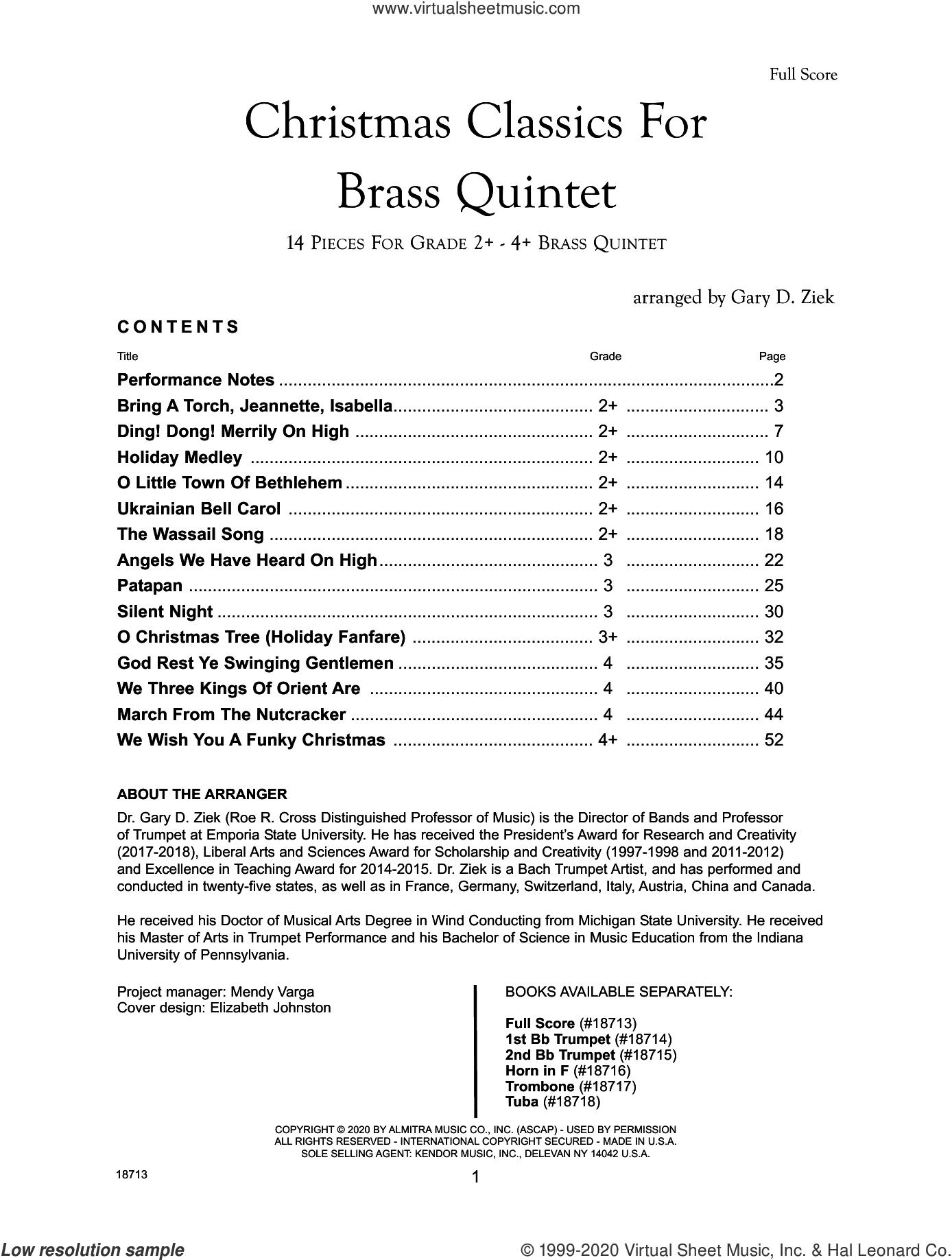 Christmas Classics For Brass Quintet - Full Score sheet music for brass quintet by Gary Ziek and Miscellaneous, intermediate skill level