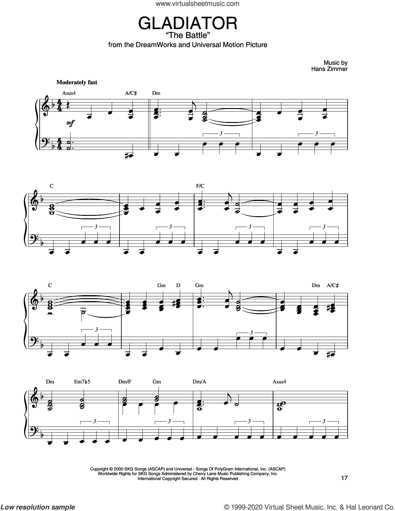 The Battle (from Gladiator) sheet music for piano solo by Hans Zimmer, Hans Zimmer and Lisa Gerrard and Lisa Gerrard, intermediate skill level