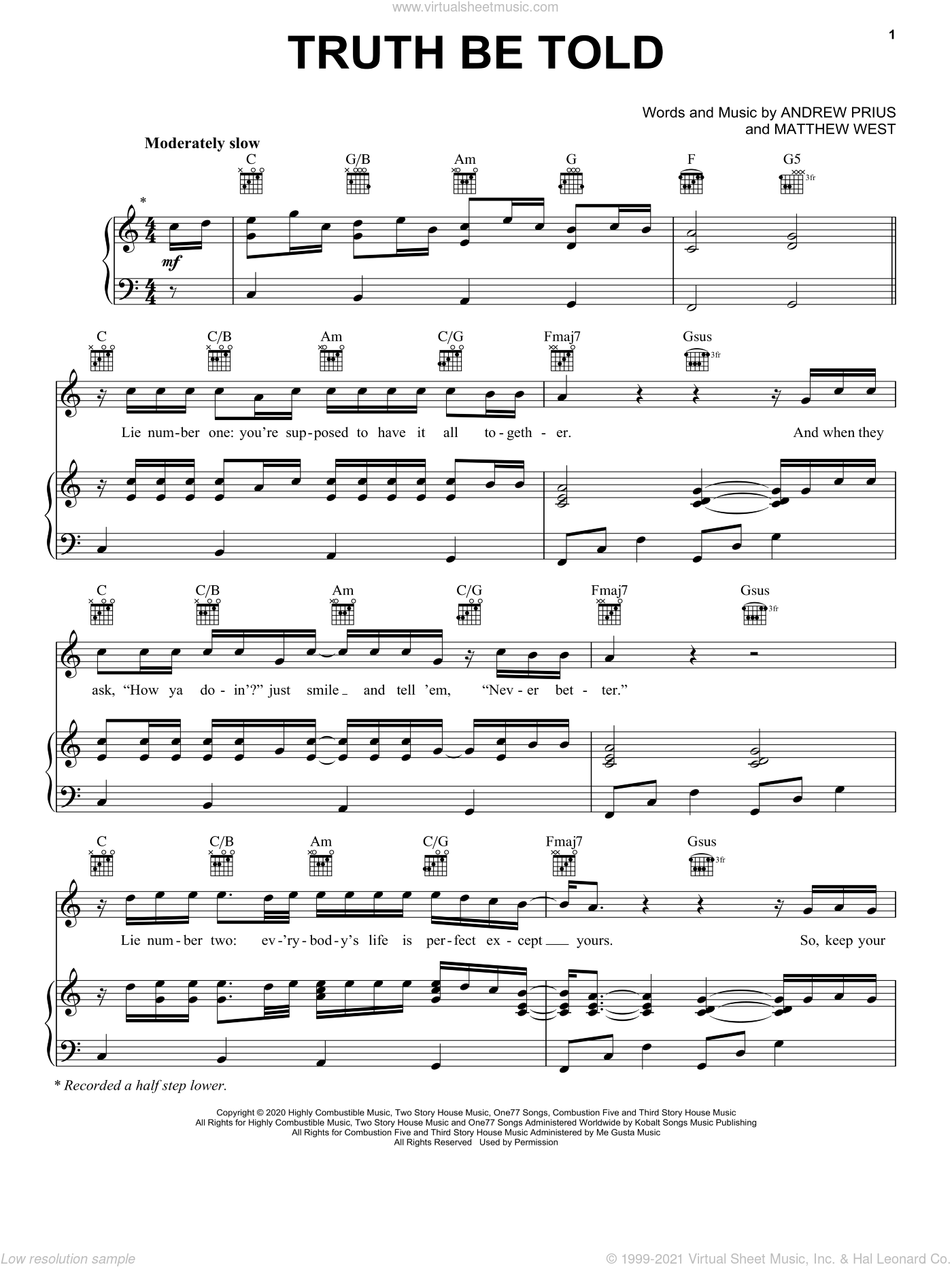 Truth Be Told sheet music for voice, piano or guitar by Matthew West and Andrew Pruis, intermediate skill level