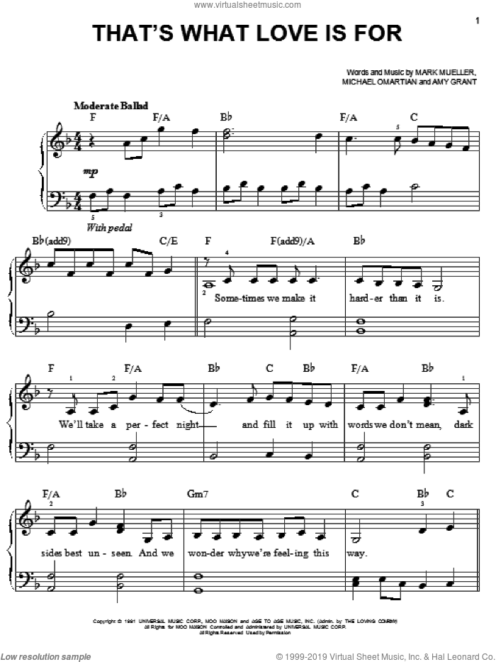 That's What Love Is For sheet music for piano solo by Amy Grant, Mark Mueller and Michael Omartian, easy skill level