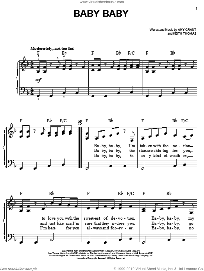 Baby Baby sheet music for piano solo by Amy Grant and Keith Thomas, easy skill level