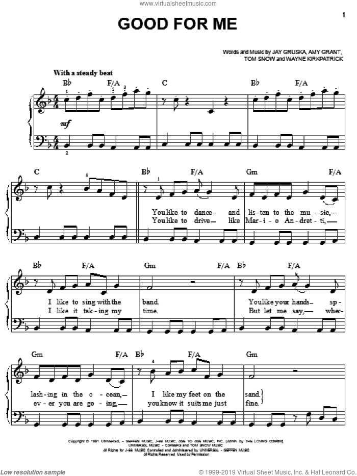 Good For Me sheet music for piano solo by Wayne Kirkpatrick, Amy Grant, Jay Gruska and Tom Snow. Score Image Preview.