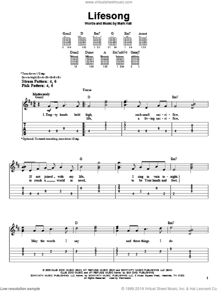 Lifesong sheet music for guitar solo (easy tablature) by Casting Crowns and Mark Hall, easy guitar (easy tablature)