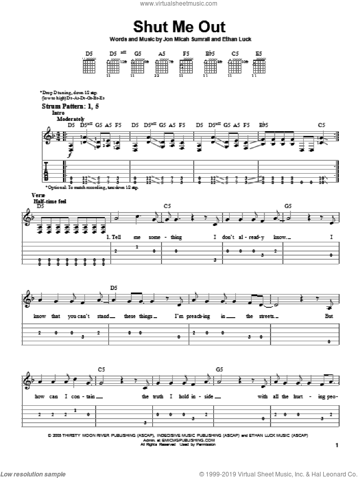 Shut Me Out sheet music for guitar solo (easy tablature) by Kutless, easy guitar (easy tablature). Score Image Preview.