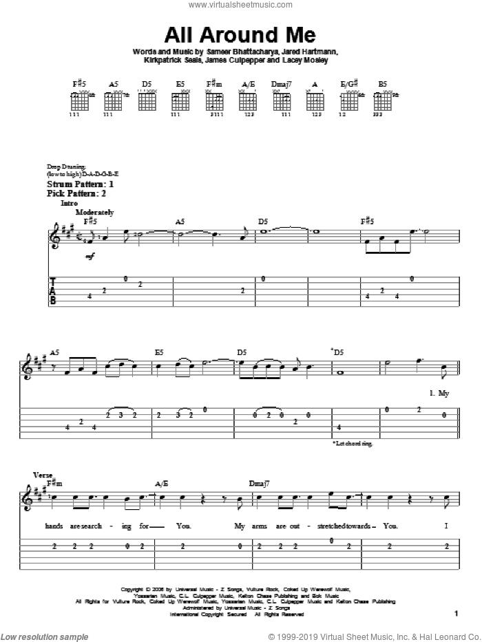 All Around Me sheet music for guitar solo (easy tablature) by Flyleaf, James Culpepper, Jared Hartmann, Kirkpatrick Seals, Lacey Mosley and Sameer Bhattacharya, easy guitar (easy tablature)
