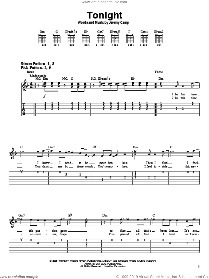 Tonight sheet music for guitar solo (easy tablature) by Jeremy Camp, easy guitar (easy tablature)