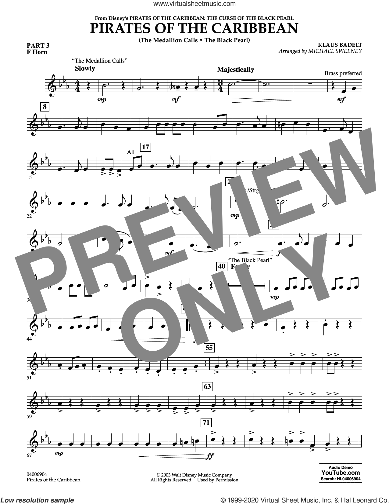 Pirates of the Caribbean (from The Curse of the Black Pearl) sheet music for concert band (pt.3 - f horn) by Klaus Badelt and Michael Sweeney, intermediate skill level