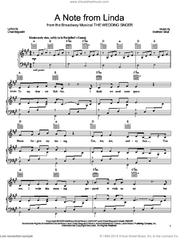 A Note From Linda sheet music for voice, piano or guitar by Chad Beguelin