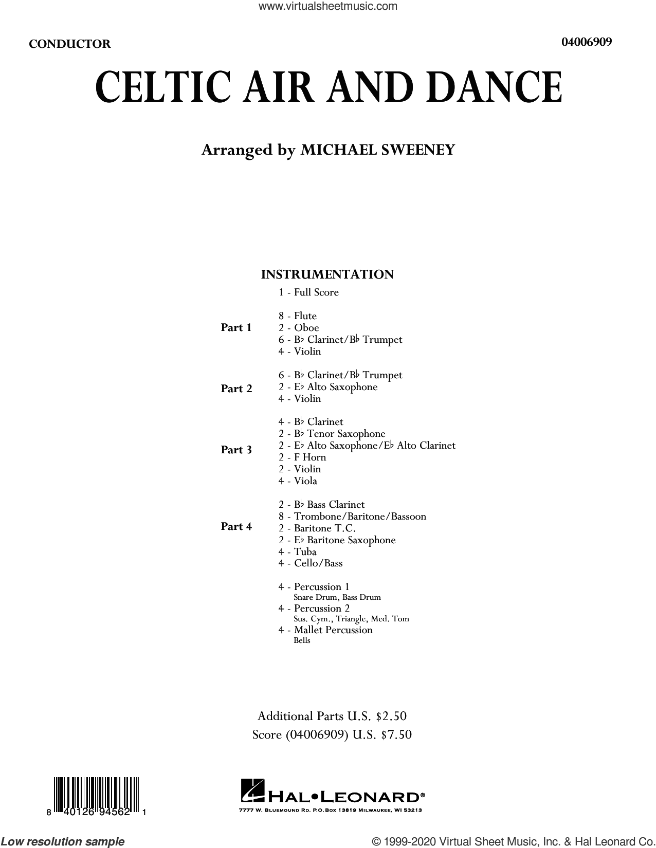 Celtic Air and Dance (COMPLETE) sheet music for concert band by Michael Sweeney, intermediate skill level