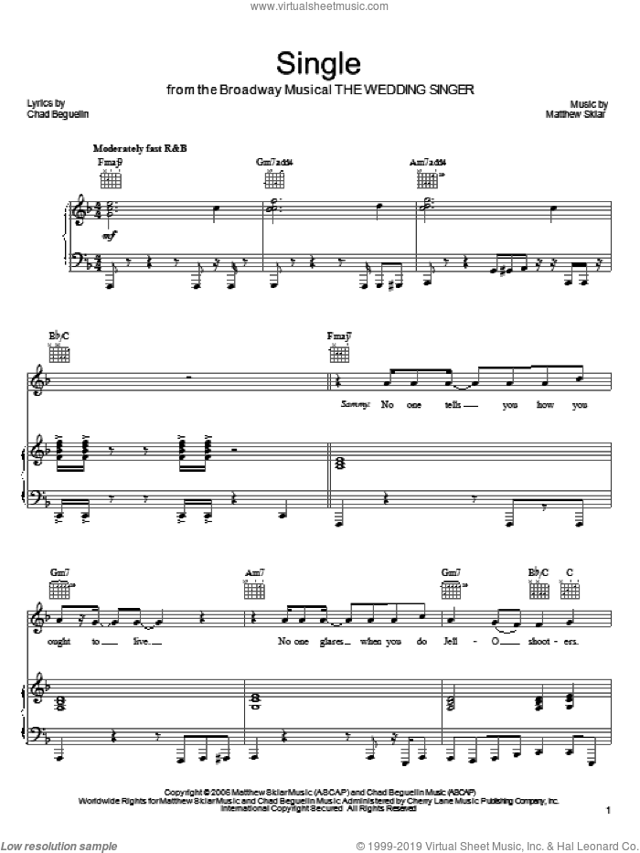 Single sheet music for voice, piano or guitar by Matthew Sklar, The Wedding Singer (Musical) and Chad Beguelin, wedding score, intermediate skill level
