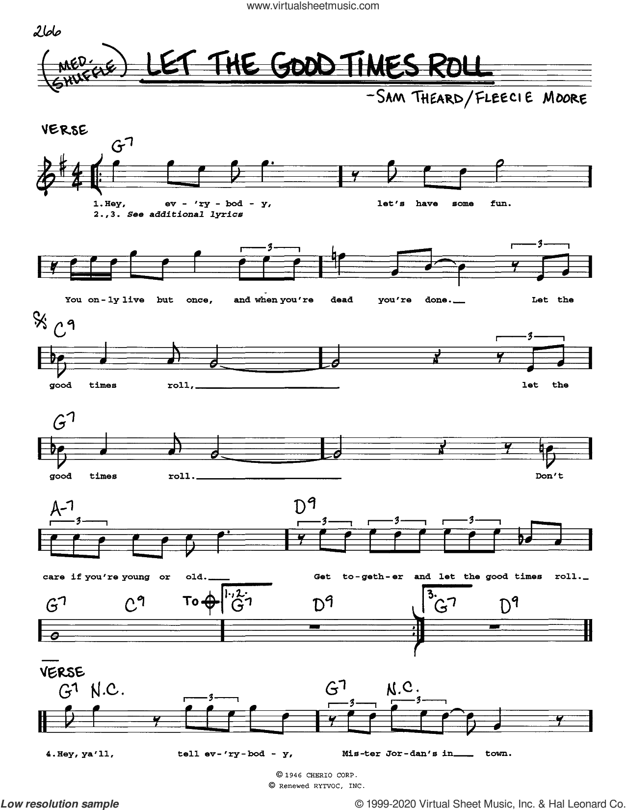 Let The Good Times Roll sheet music for voice and other instruments (real book) by B.B. King, Fleecie Moore and Sam Theard, intermediate skill level