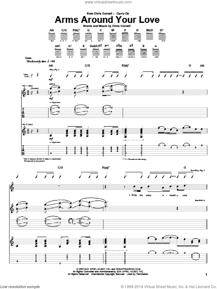 Arms Around Your Love sheet music for guitar (tablature) by Chris Cornell, intermediate. Score Image Preview.