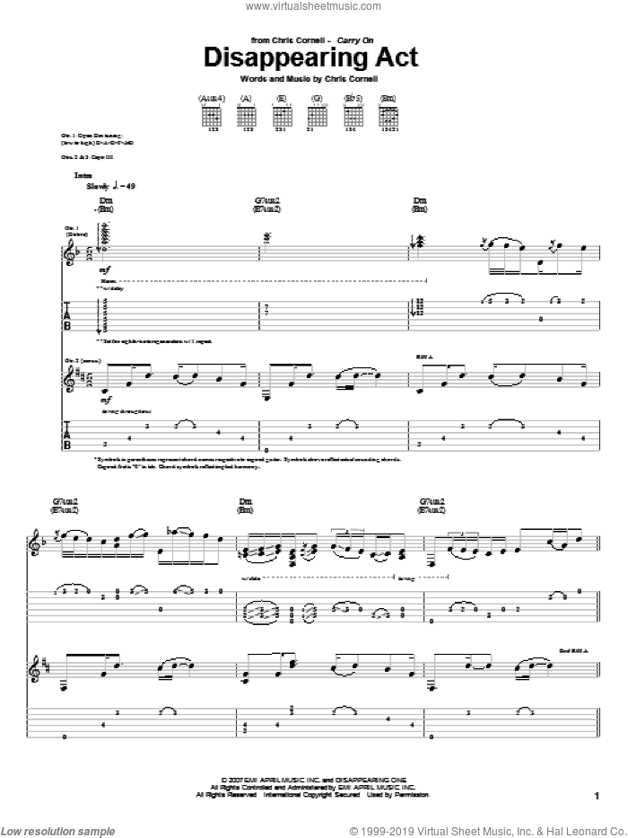 Disappearing Act sheet music for guitar (tablature) by Chris Cornell. Score Image Preview.