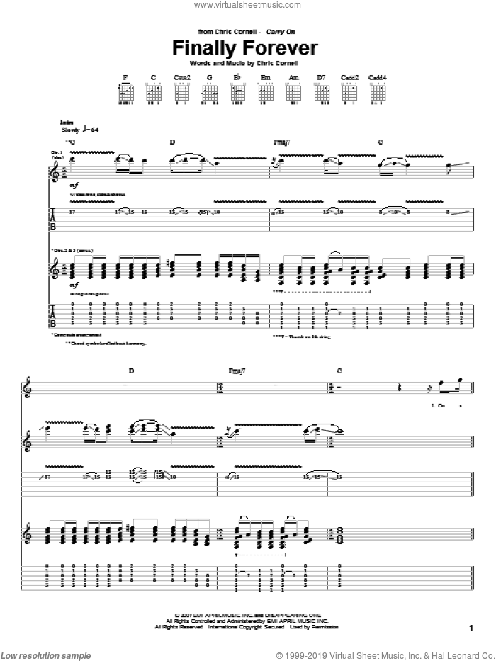 Finally Forever sheet music for guitar (tablature) by Chris Cornell, intermediate guitar (tablature). Score Image Preview.